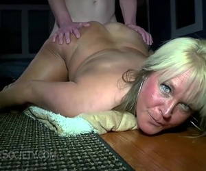 Fat blonde slut with big, saggy tits likes to get fucked in a doggy- fashion position