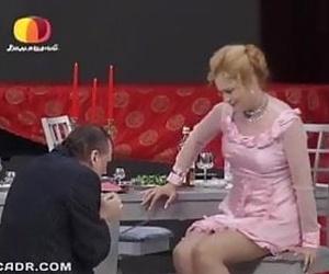 Russian mature moviestar Alena Yakovleva in stockings flashing ebony panties